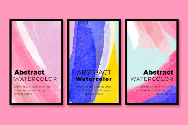 Abstrakte aquarellkarten-sammlung Kostenlosen Vektoren