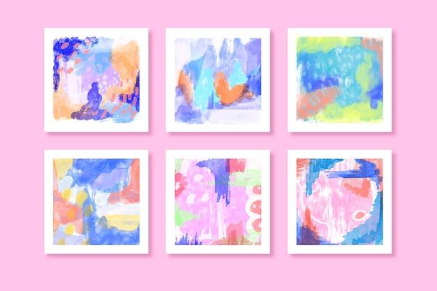 Abstrakte aquarellquadrat-sammlung Kostenlosen Vektoren