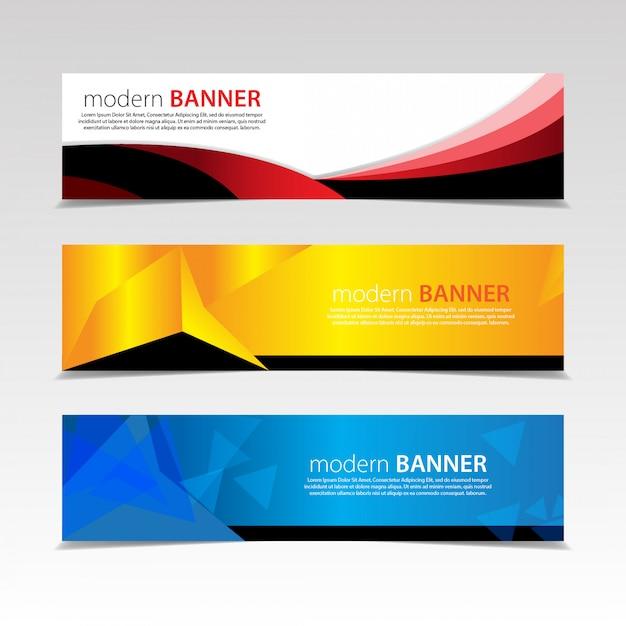 Abstrakte banner-design. mit 3 sätzen von templates.vector Premium Vektoren