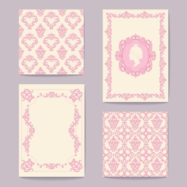 Abstrakte barocke königliche hintergründe in pink und weiß Premium Vektoren