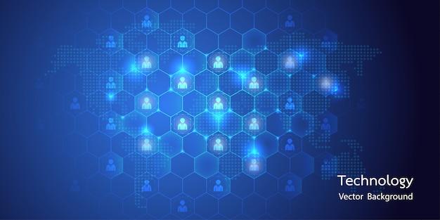 Abstrakte big data mit avatar-verbindung und waben-hintergrund Premium Vektoren