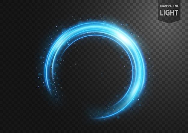 Abstrakte blaue lichtlinie mit blauen funken Premium Vektoren
