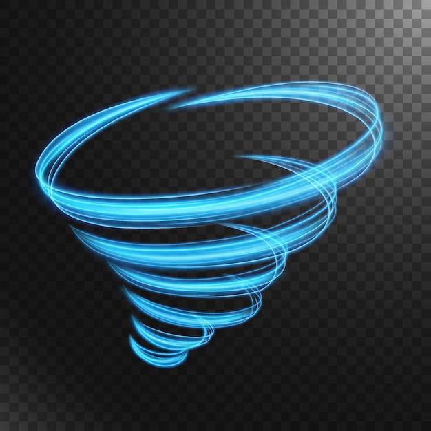 Abstrakte blaue tornado-lichtlinie Premium Vektoren