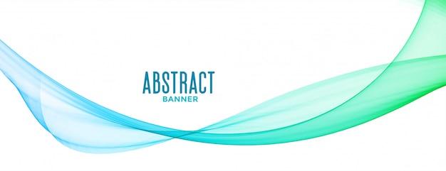 Abstrakte blaue transparente gewellte linien hintergrundfahnendesign Kostenlosen Vektoren