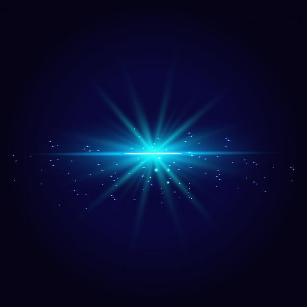 Abstrakte blaulichtlinien lokalisiert auf transparentem hintergrund Premium Vektoren