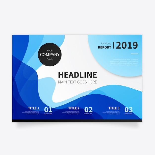 Abstrakte broschüre mit modernen blauen wellen Kostenlosen Vektoren