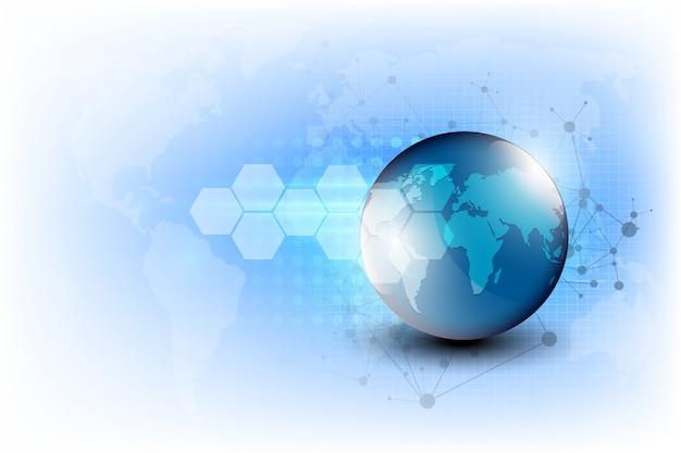 Abstrakte digitaltechnikverbindung auf erdhintergrund Premium Vektoren