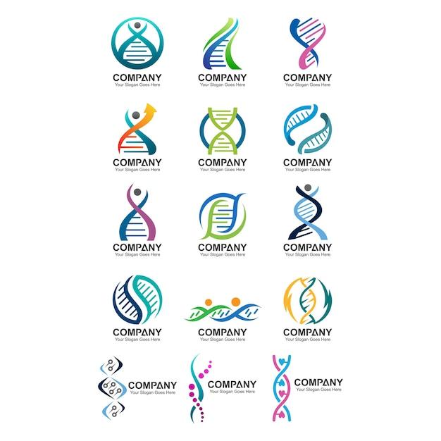 Abstrakte dna-logo-set Premium Vektoren