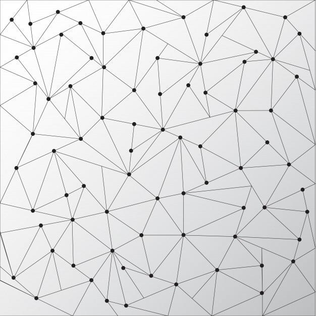 Abstrakte Dreiecke umreißt mit Punkten verbinden auf weißem ...