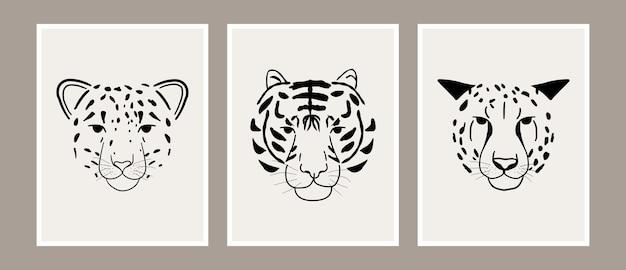 Abstrakte dschungeltier-kunstsammlung des leoparden-, tiger- und gepardenkopfdrucks Premium Vektoren