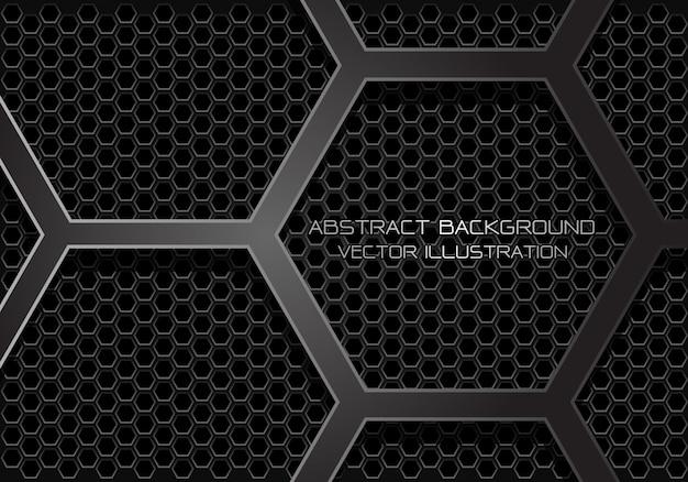 Abstrakte dunkelgraue hexagonüberdeckung auf maschenhintergrund. Premium Vektoren