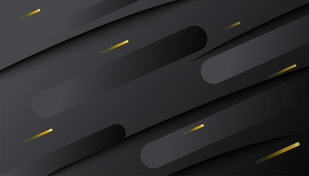 Abstrakte dunkle gradienten dynamische form mit goldenen linien. minimale geometrische 3d-komposition. Kostenlosen Vektoren