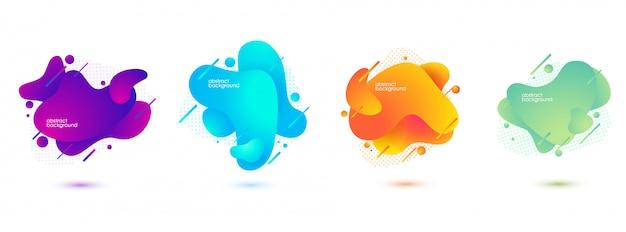 Abstrakte fahnen der steigung mit flüssigen flüssigen formen Premium Vektoren