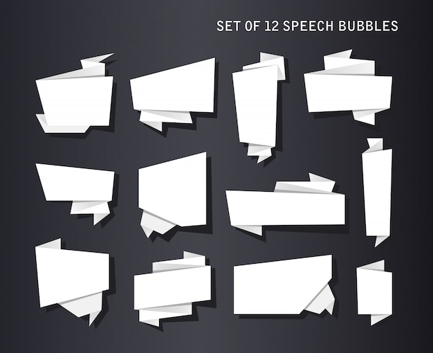 Abstrakte fahnen eingestellt, gefaltetes papierband oder ursprüngliche spracheblasen Kostenlosen Vektoren