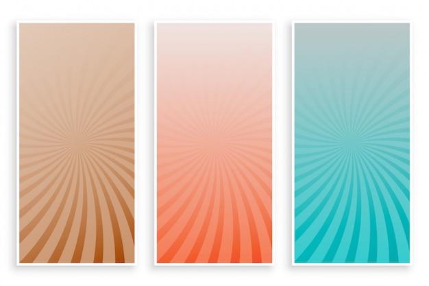 Abstrakte farbstrahlesonnendurchbruch-fahnenset Kostenlosen Vektoren