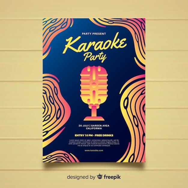 Abstrakte farbverlauf karaoke plakat vorlage Kostenlosen Vektoren