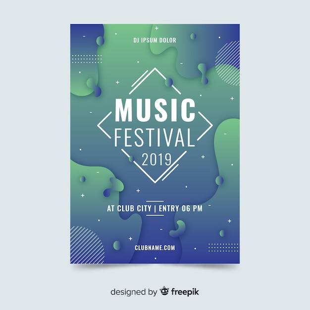 Abstrakte flüssige effektmusikfestival-plakatschablone Kostenlosen Vektoren