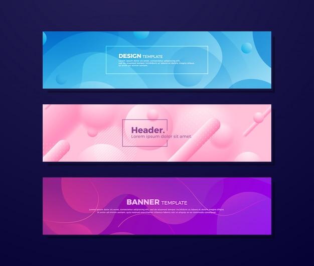 Abstrakte flüssige hintergründe mit verschiedenen farben. Premium Vektoren