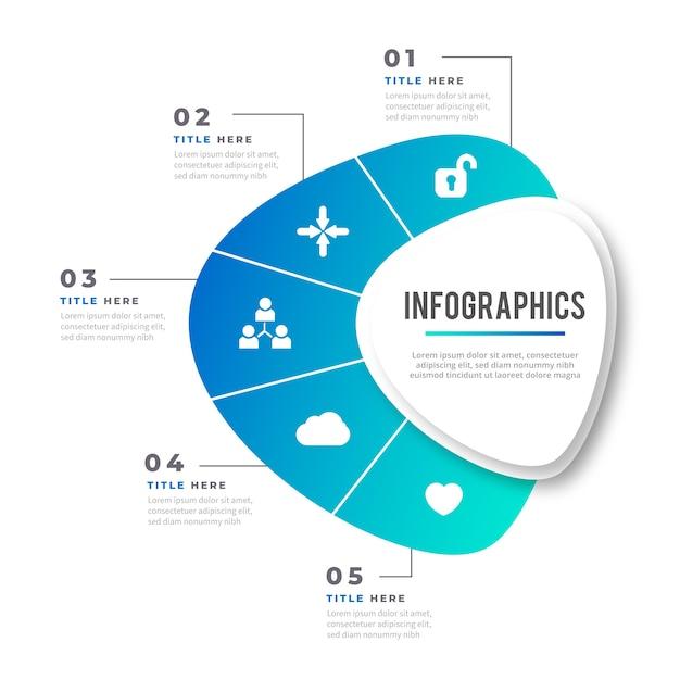 Abstrakte form mit farbverlauf infografik Kostenlosen Vektoren