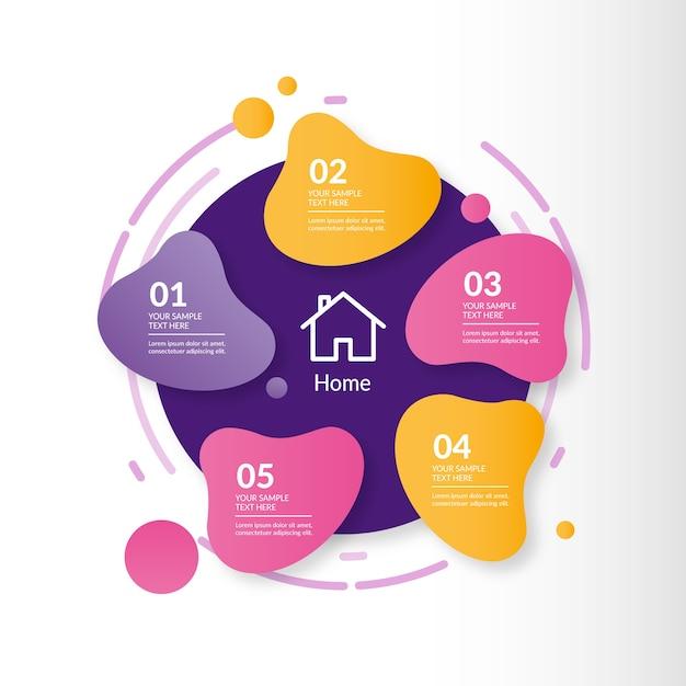 Abstrakte form mit farbverlauf infografik Premium Vektoren