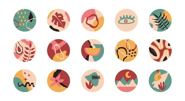 Abstrakte formen, blumen, pflanzen in runden ikonen. Premium Vektoren