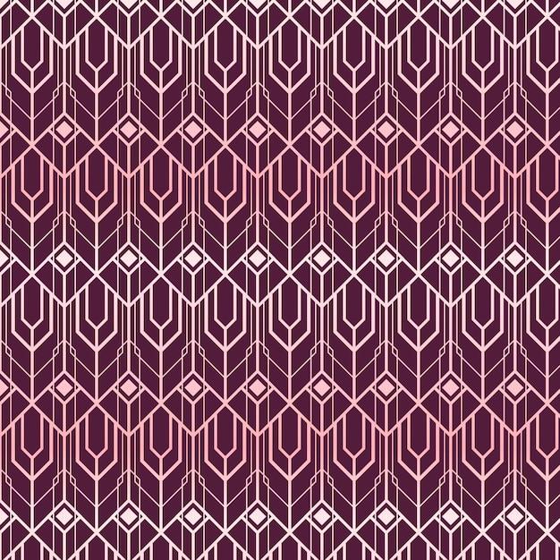 Abstrakte formen roségold art deco muster Premium Vektoren