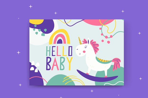 Abstrakte gemalte kindliche babykarten mit einhorn Kostenlosen Vektoren