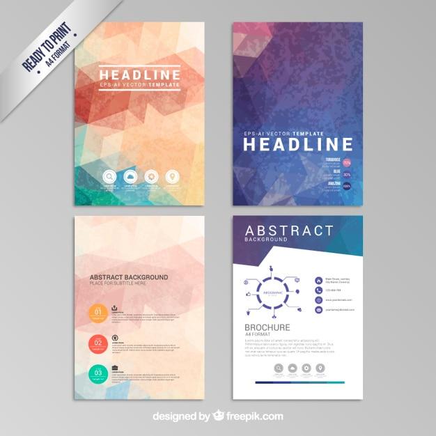 Abstrakte geometrische broschüren Kostenlosen Vektoren