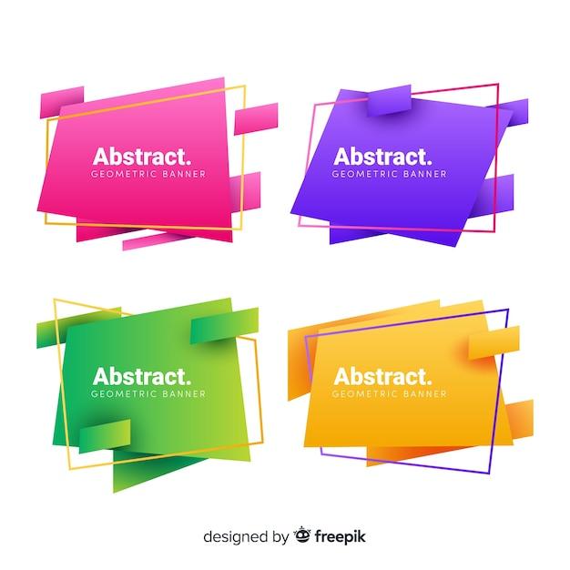 Abstrakte geometrische fahnenset Kostenlosen Vektoren