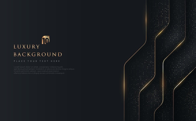 Abstrakte geometrische überlappung auf schwarzem hintergrund mit glitzer und goldenen linien, die punkte goldene kombinationen glühen. Premium Vektoren