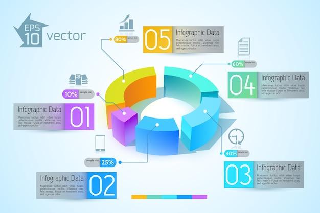 Abstrakte geschäftsdiagramm-infografiken mit bunten 3d-graphen fünf optionen textillustration Kostenlosen Vektoren
