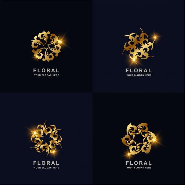 Abstrakte goldene blume oder verzierungslogosatzsammlung. kann spa-, salon-, beauty- oder boutique-logo-design verwendet werden. Premium Vektoren