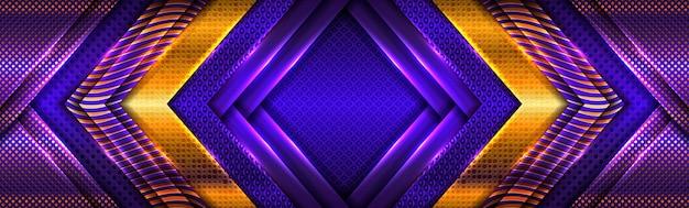 Abstrakte goldene lichtlinien auf lila blauem hintergrund Premium Vektoren