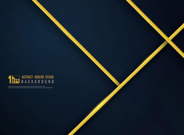 Abstrakte goldene luxuslinie auf klassischem blauem schablonenhintergrund der steigung Premium Vektoren