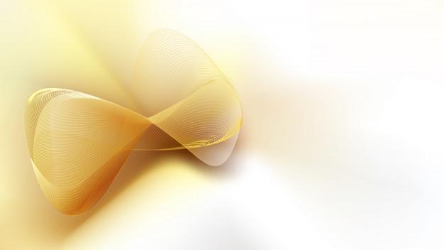 Abstrakte goldene masche auf weißer satinseide mit kopienraum für text Premium Vektoren