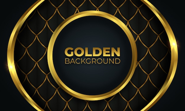 Abstrakte goldkreisform auf dunklem hintergrund Premium Vektoren