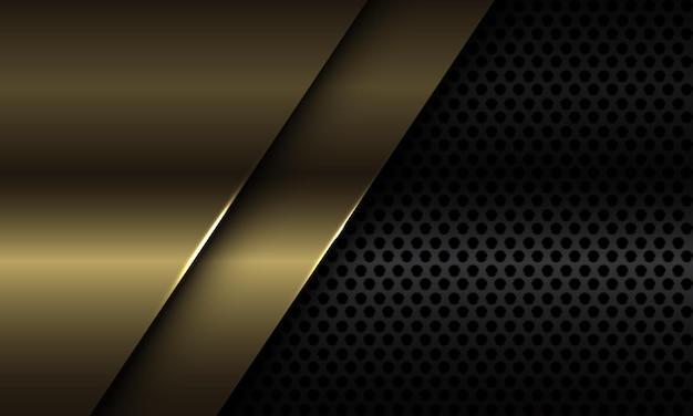 Abstrakte goldplattenüberlappung auf moderner luxus-futuristischer hintergrundillustration des schwarzen kreisnetzdesigns. Premium Vektoren