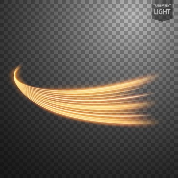 Abstrakte goldstrudellinie des lichtes Premium Vektoren
