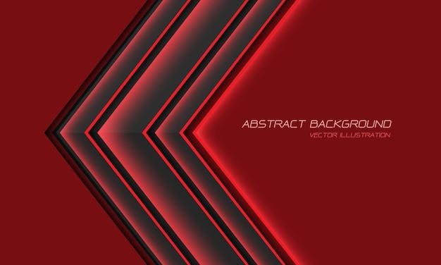Abstrakte graue metallische rote lichtpfeilrichtung mit moderner futuristischer hintergrundillustration des leerraumdesigns. Premium Vektoren
