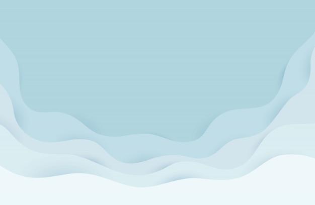 Abstrakte graue und weiße wasserwellen der modernen papierkunstkarikatur. realistischer trendiger handwerksstil. origami designvorlage. Premium Vektoren