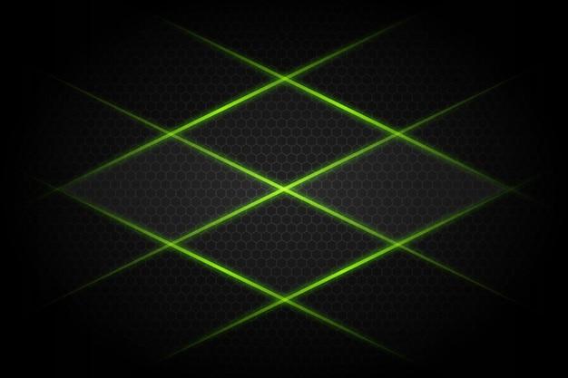 Abstrakte grüne lichtlinie kreuz auf modernem futuristischem hintergrund des dunkelgrauen leerzeichendesigns Premium Vektoren