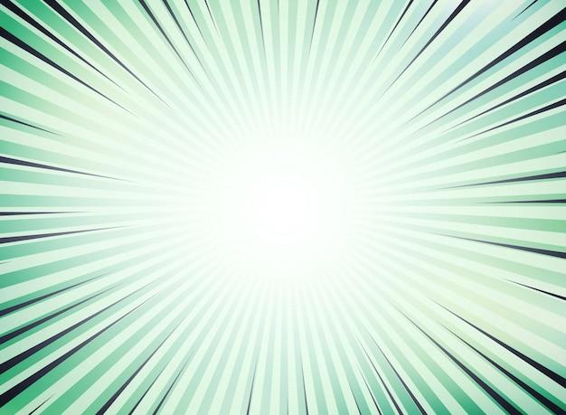 Abstrakte grüne sonne sprengte komischen hintergrund für raum des textes. Premium Vektoren