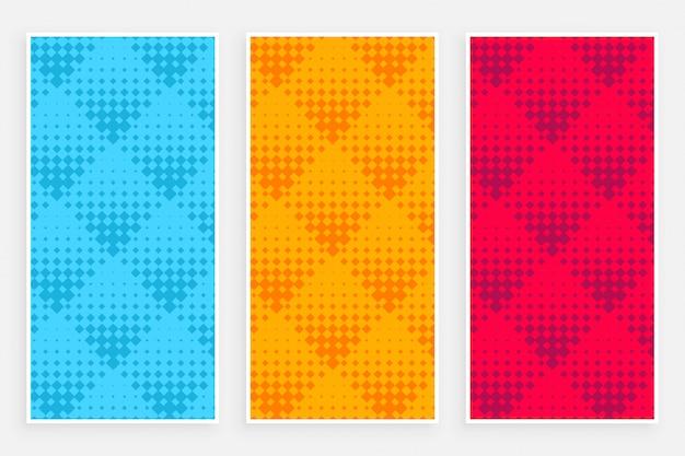 Abstrakte halbtonmusterfahnen in den verschiedenen farben Kostenlosen Vektoren