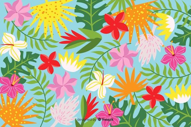 Abstrakte hand gezeichneter tropischer hintergrund Kostenlosen Vektoren