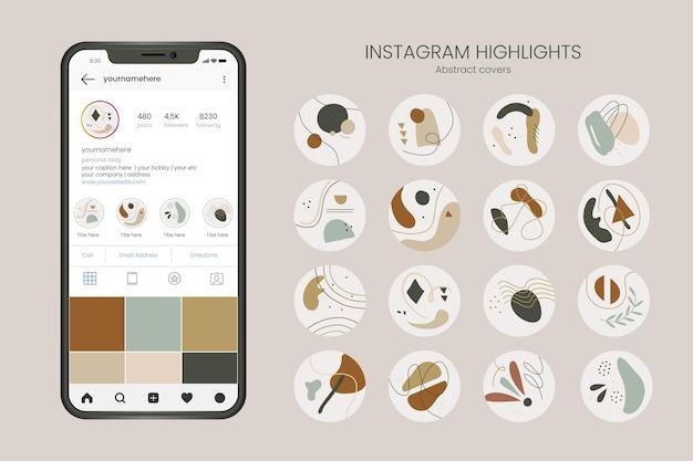 Abstrakte handgezeichnete instagram-highlights Kostenlosen Vektoren