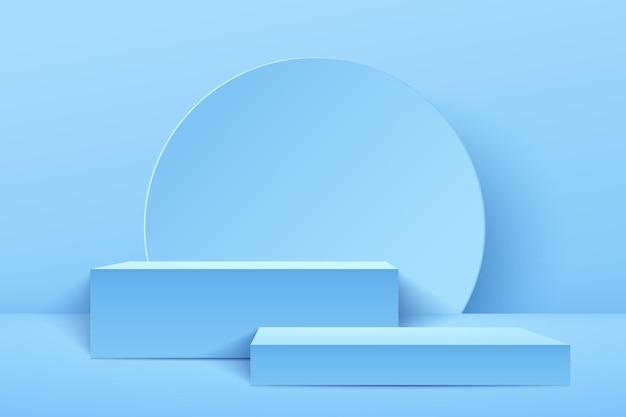 Abstrakte hellblaue würfelanzeige für produkt. pastellfarbe der geometrischen form 3d 3d. Premium Vektoren