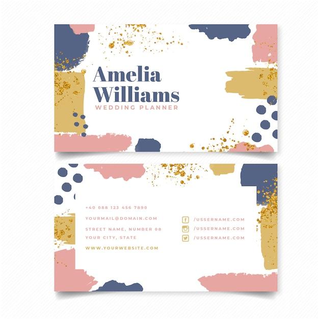 Abstrakte Hochzeitsplaner Visitenkarte Schablone Download