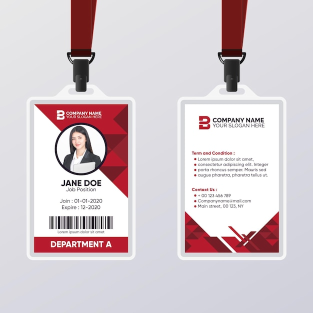 Abstrakte id-karte mit dunkelroter farbschablone Premium Vektoren