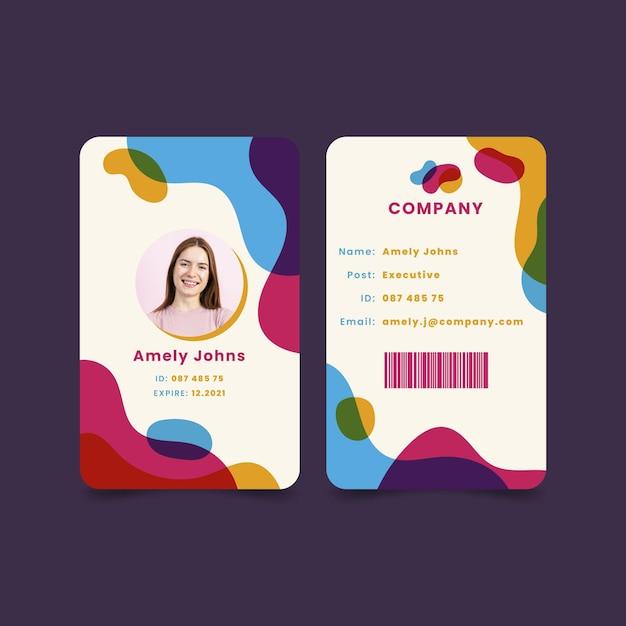 Abstrakte id-kartenschablone mit bild Premium Vektoren