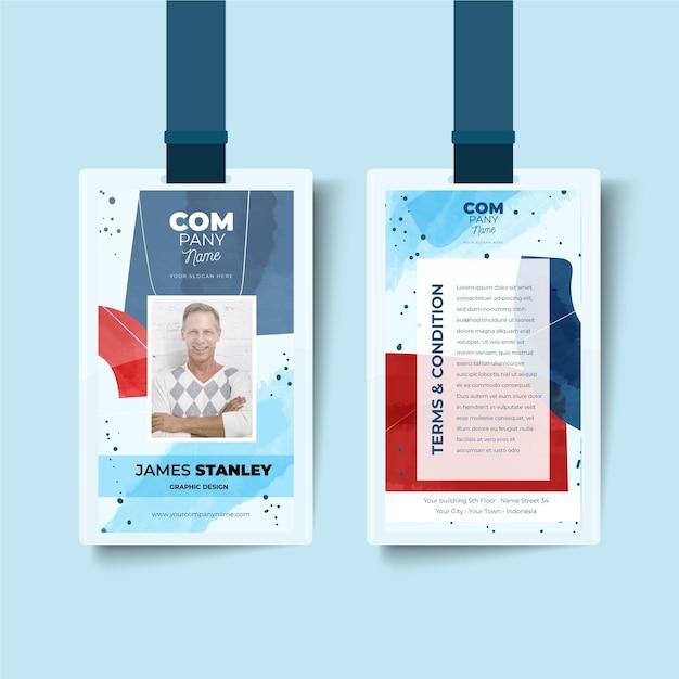 Abstrakte id-kartenschablone mit foto Kostenlosen Vektoren
